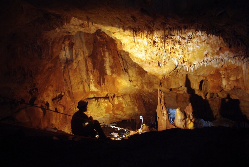 Inside the Manot Cave in Israel's Galilee, where a 55,000-year-old skull sheds new light on human migration patterns. (Photo: Amos Frumkin / Hebrew University Cave Research Center)