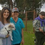Dr Peter Winterton, Amy Duke and Meg Braunstein with Gus