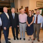 From left- Eitan Drori, Senator the Hon Mitch Fifield, Robert Simons OAM, Michael Dunkel, Rachele Schonberger ,Peter Winterton AM and Grahame Leonard AM