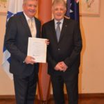 From left: Senator the Hon Mitch Fifield with Robert Simons OAM