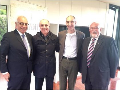From left: Ambassador Yossi Gal, John Shalit, President 2005-2011, Larry Gandler President 2011-2014 and Grahame Leonard AM, President 2014-