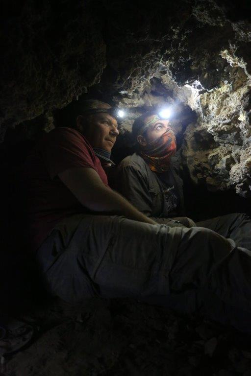 Archaeologists Oren Gutfeld & Ahiad Ovadia survey cave