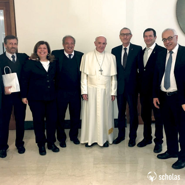 Left to right: Scholas Secretary and Global Director, Enrique Palmeyro; Truman Institute Executive Director, Naama Shpeter; Scholas President, José María del Corral; Pope Francis; President of the Hebrew University of Jerusalem, Professor Menahem Ben-Sasson; Truman Institute Academic Director, Prof. Menahem Blondheim; and Hebrew University Vice President for Advancement and External Relations, Ambassador Yossi Gal.
