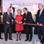 Mrs. Lily Safra cuts the ribbon to dedicate the new home of the Edmond and Lily Safra Center for Brain Science, accompanied by (from left) British architect Lord Norman Foster, Chairman of the Hebrew University's Board of Governors Mr. Michael Federmann, Mayor of Jerusalem Nir Barkat, and Hebrew University President Prof. Menahem Ben-Sasson. (Credit: Michael Zekri for Hebrew University)