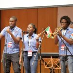 """Students from Burundi and Congo perform a song in Swahili at the opening ceremony of the Interreligious Citizenship Encounter, organized by Scholas Occurentes and the Hebrew University's Truman Institute. The female singer from Burundi's name is """"Shalom."""" (Credit: Scholas Occurentes)"""