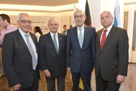 From the Hebrew University, Ambassador Yossi Gal, Vice President for Advancement and External Relations; Mr. Michael Federmann, Chairman of the Board of Governors; and Prof. Menahem Ben-Sasson, President; with Dr. Clemens von Goetze, the Ambassador of the Federal Republic of Germany to Israel.